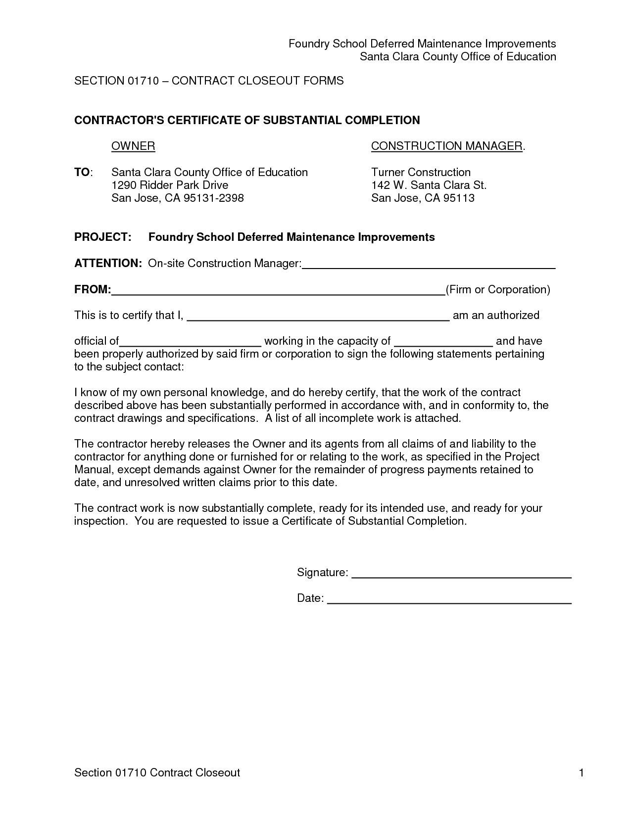 Project Completion Template Company Letter Format For New
