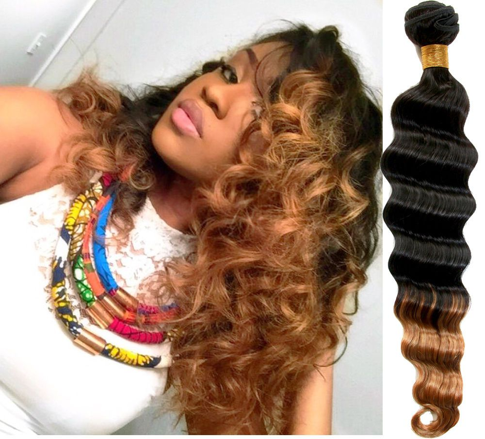 1B/27 2 Tone Ombre Deep Wave High Quality Real Human Hair