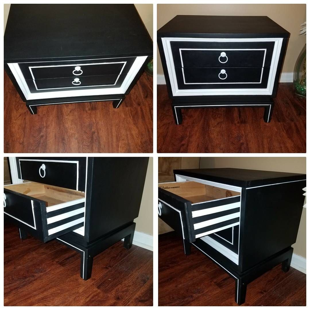 Best Refinished Black And White Nightstand With Striped Drawers 400 x 300