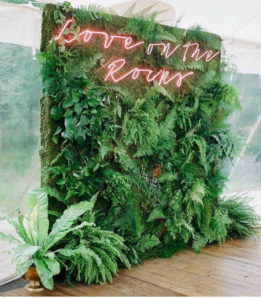 A Greenery Wall And Pink Neon Sign