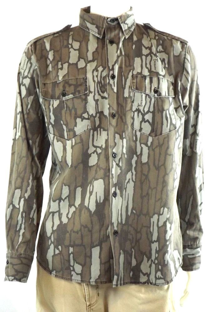 57305c3482d83 Cabela's Tree Bark Camo Hunting Shirt Long Sleeve Button Down Sz 15.5 # Cabelas #ButtonFront