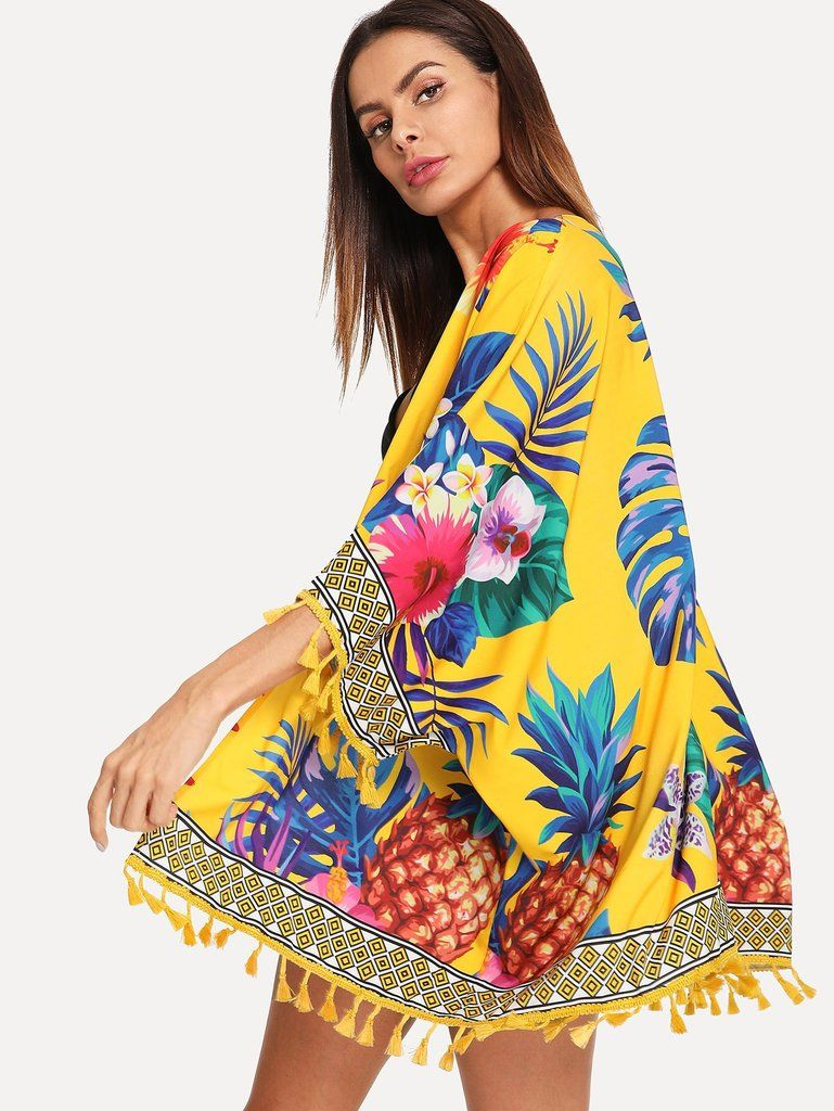 e98800efb2 Bright Colorful Yellow Pineapple & Palms Tropical Kimono Cover Up in ...