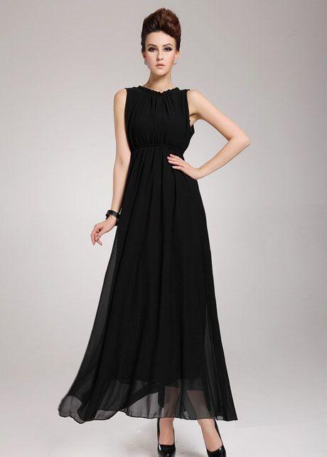 Captivating Open Back Sleeveless Black Chiffon Long Dress