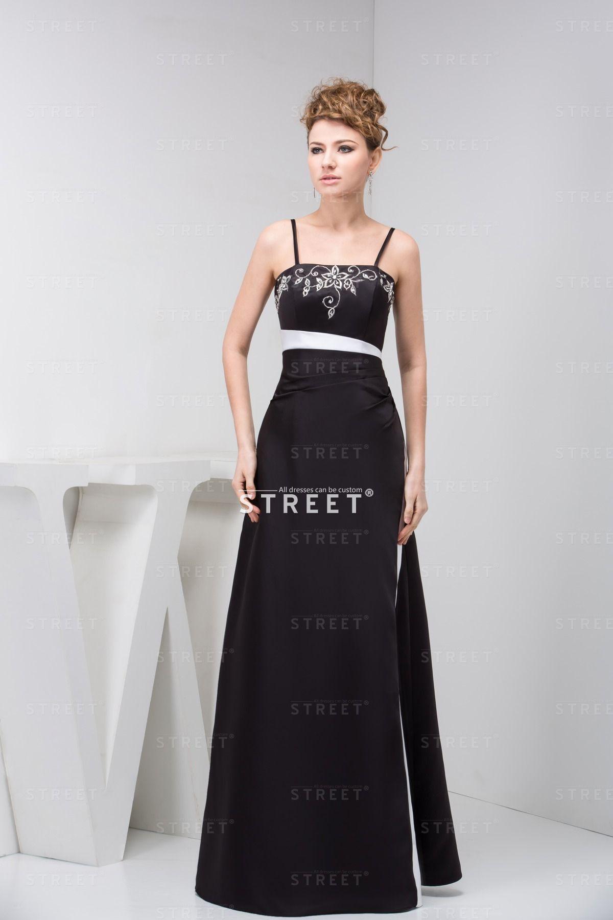 Simple Black Chiffon Floor-Length Prom Beach Wedding Guest Dress. #black #chiffon #straps #simple #fashion #modern