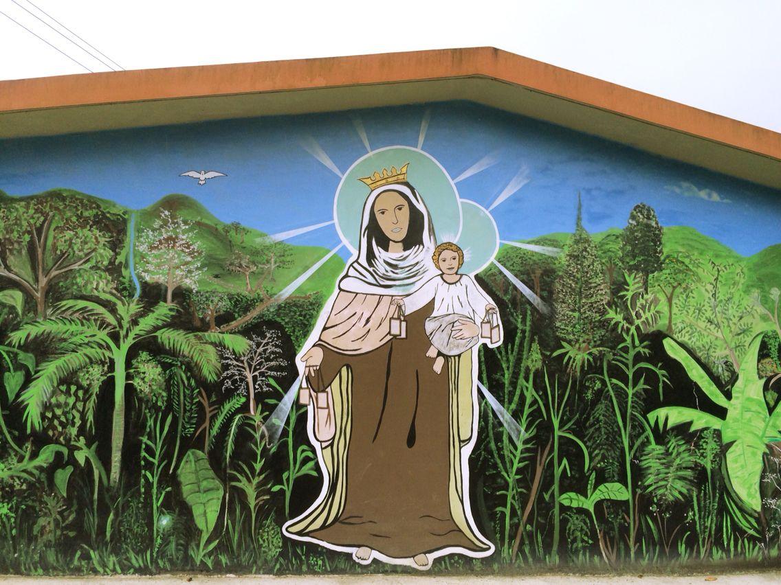 Virgen de Carmen. Dibujado en una iglesias.