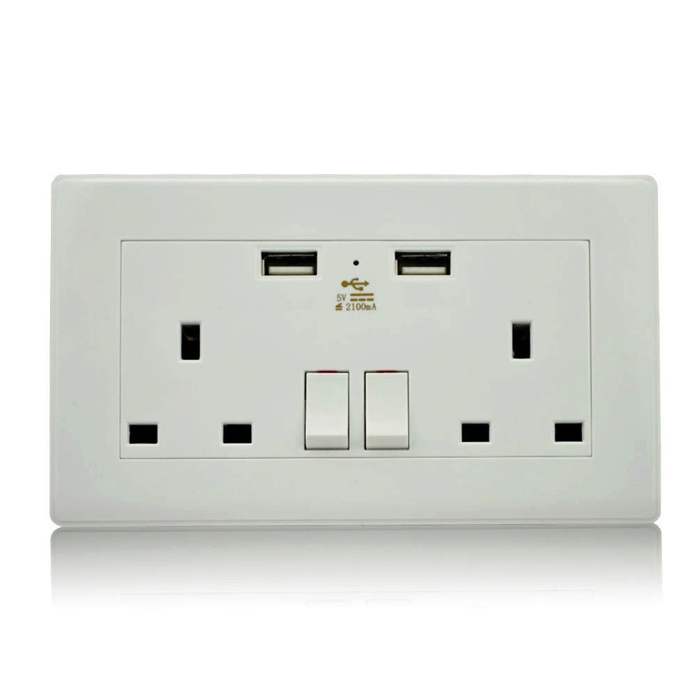 Plug Socket With 2 Usb Outlets Double 2 Gang Electrical Wall