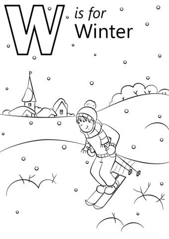 w is for winter coloring page from letter w category select from 26514 printable crafts of