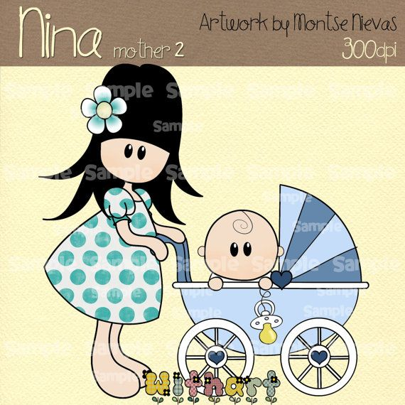 Mother and baby Nina dolls (0239) digital clip art set images for scrapbooking card making iron transfers jewelry printable crafts
