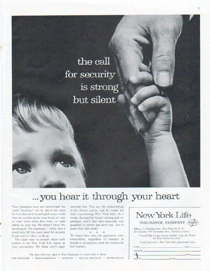 1961 New York Life Insurance Company Vintage Ad Call For Security