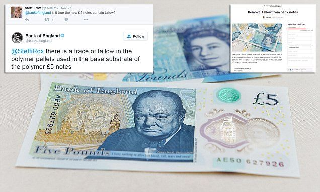 Vegans call for new £5 notes to be scrapped for containing animal fat