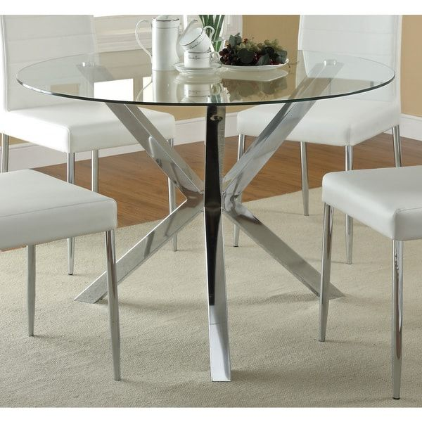 Coaster Company Chrome Glass Top Dining Table Dining Table Silver Glass Kitchen Tables Glass Round Dining Table Glass Dining Table