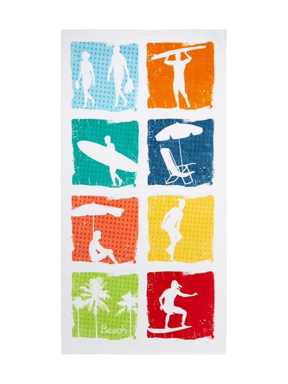 Dohler Beach Icons Terry Velour Oversized Beach Towel