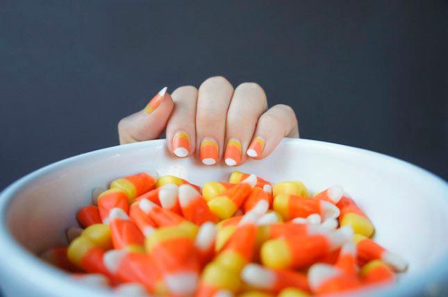 Cool Candy Corn DIY Projects To Try This Halloween Nails - halloween diy crafts