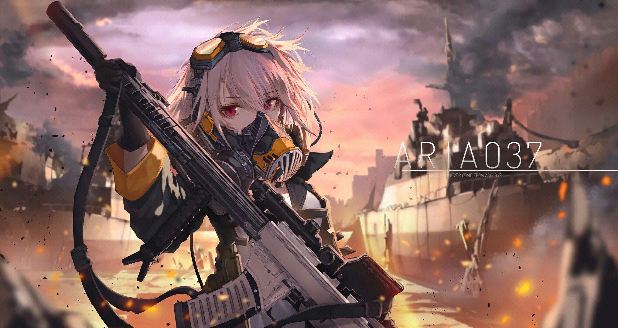 Открытка, картинки девушек с оружием из аниме