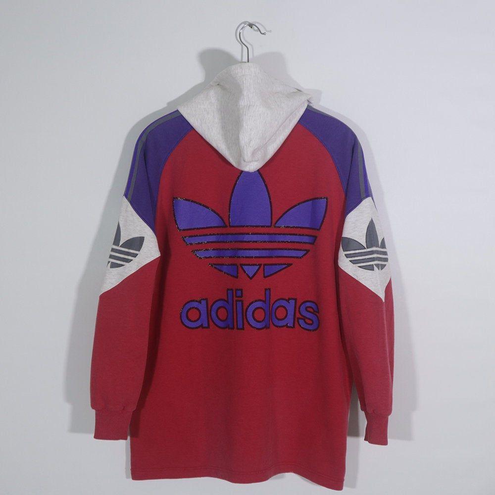 Vintage 80s 90s Adidas Hoodie Sweatshirt Sweater Jacket Retro Adidas Pullover Jumper Decente Color Block Adidas Big Logo Vintage Jacket Outfit Vintage Hoodies Vintage Jacket [ 1000 x 1000 Pixel ]