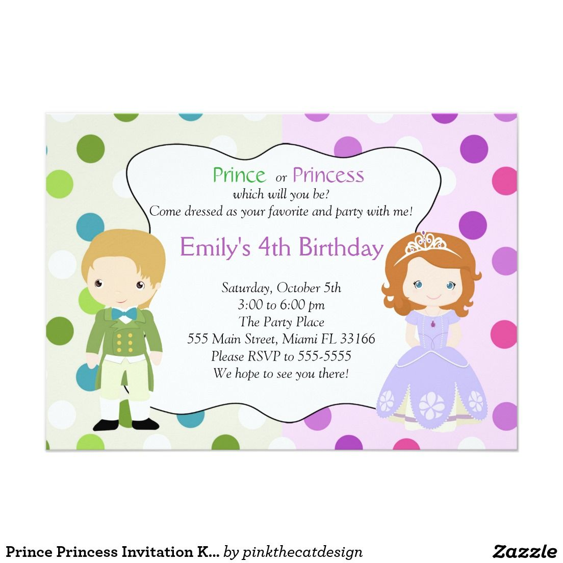 Prince Princess Invitation Kids Birthday Party | Maria Elenas 4th ...