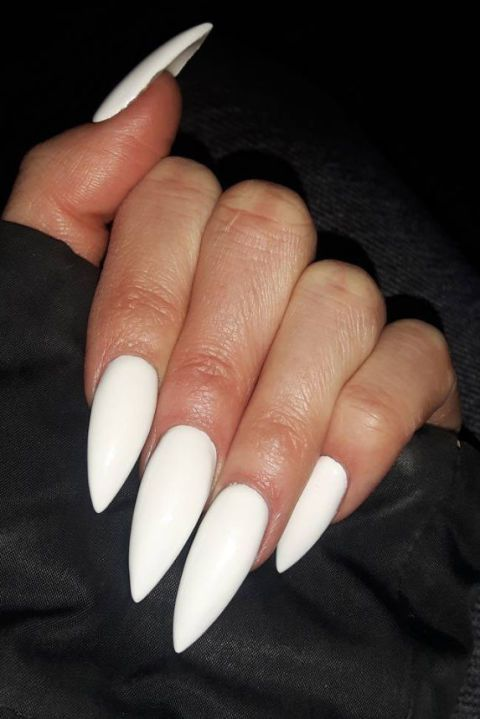 13 Stiletto Nail Ideas That Are Totally On Point Acrylic Nails Stiletto White Stiletto Nails Pointed Nails
