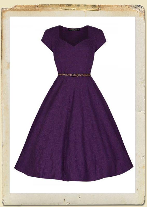 Purple 'Victoria' 1950's vintage Swing dress