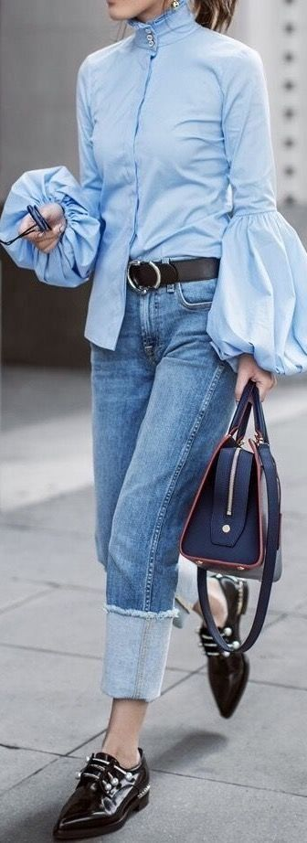 These are the best and most stylish tops for work. We're loving this bell sleeve street style shot