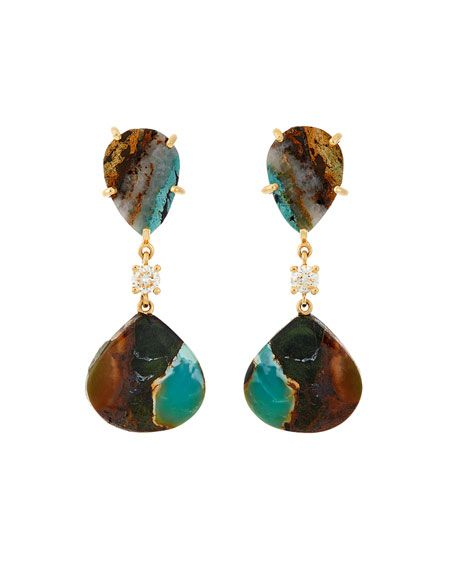 Get free shipping on Jan Leslie 18k Bespoke 2-Tier Tribal Luxury Earrings w/ Tibetan Turquoise & Diamonds at Bergdorf Goodman. Shop the latest luxury fashions from top designers.