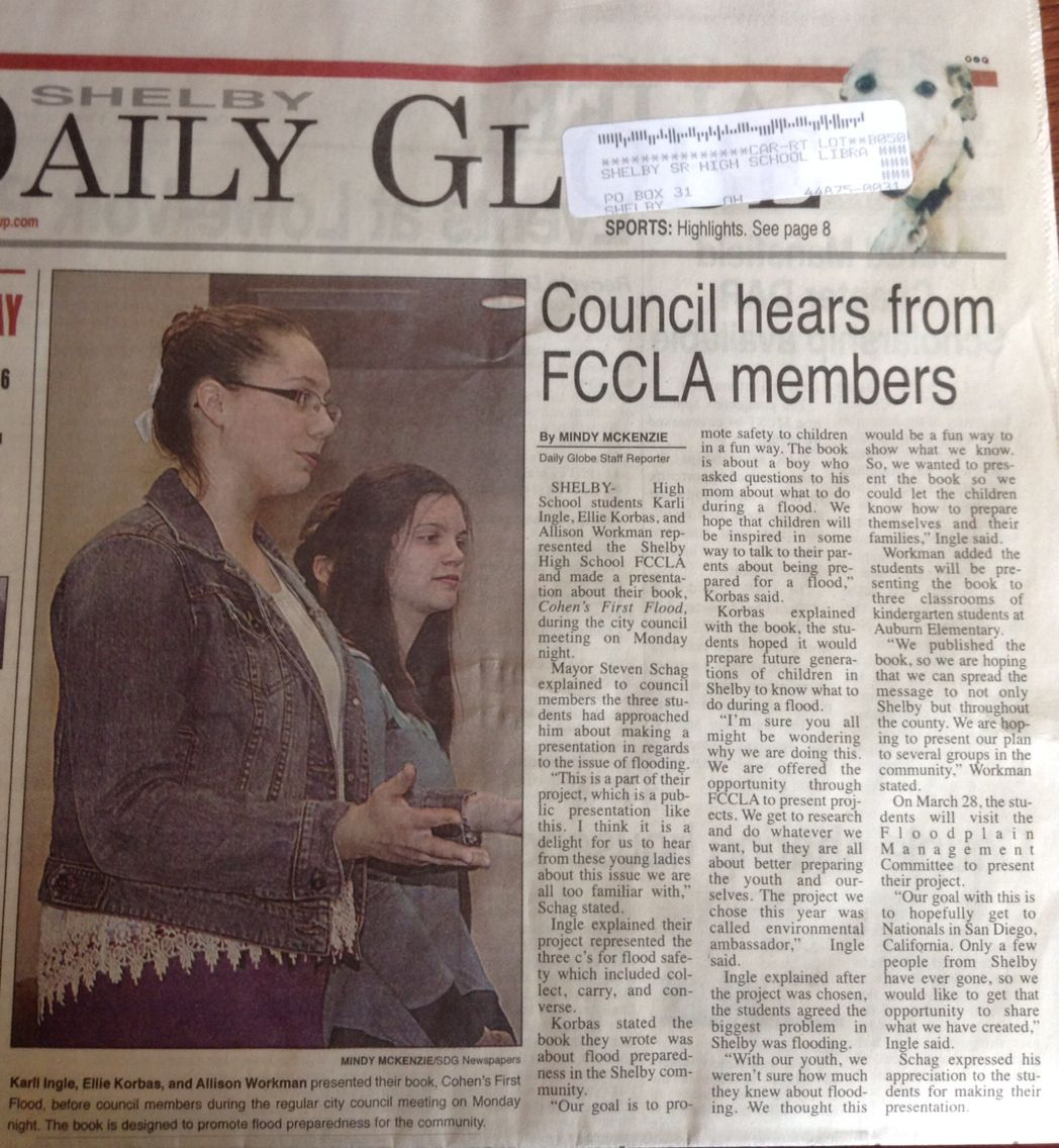Our FCCLA project on the front page newspaper