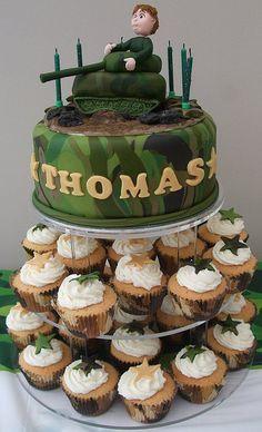 Toms 6th birthday cake Army and Birthdays
