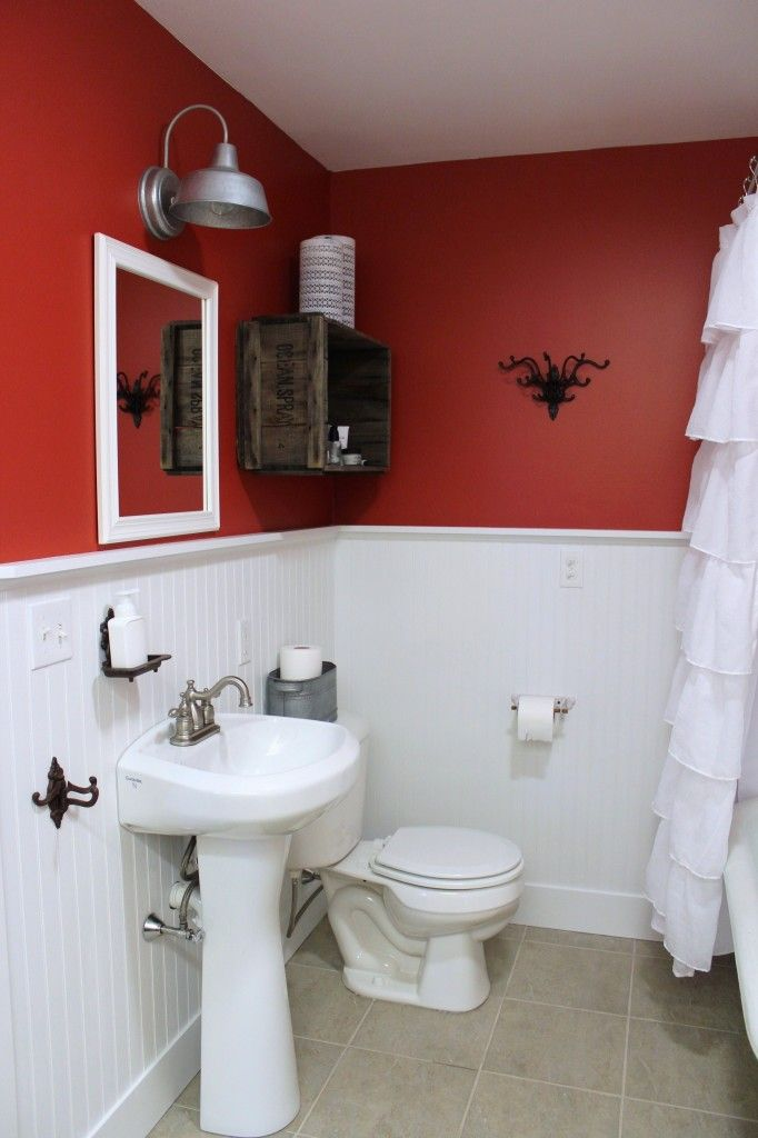 The Downstairs Bathroom With Images Downstairs Bathroom Bathroom Red Custom Laundry Room