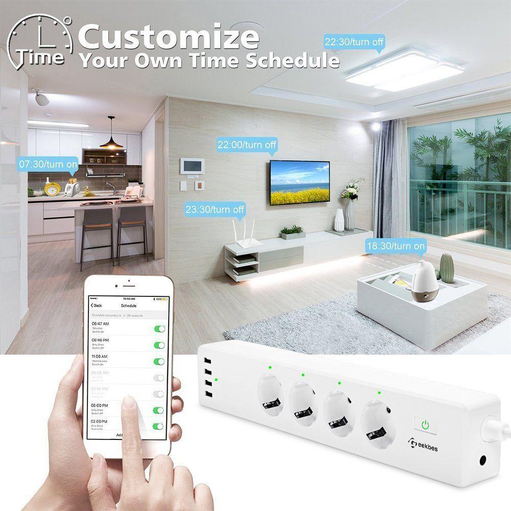 Smart Steckdosenleiste Steckdose Wifi Alexa mit 4 Smart AC Steckern und 4 USB
