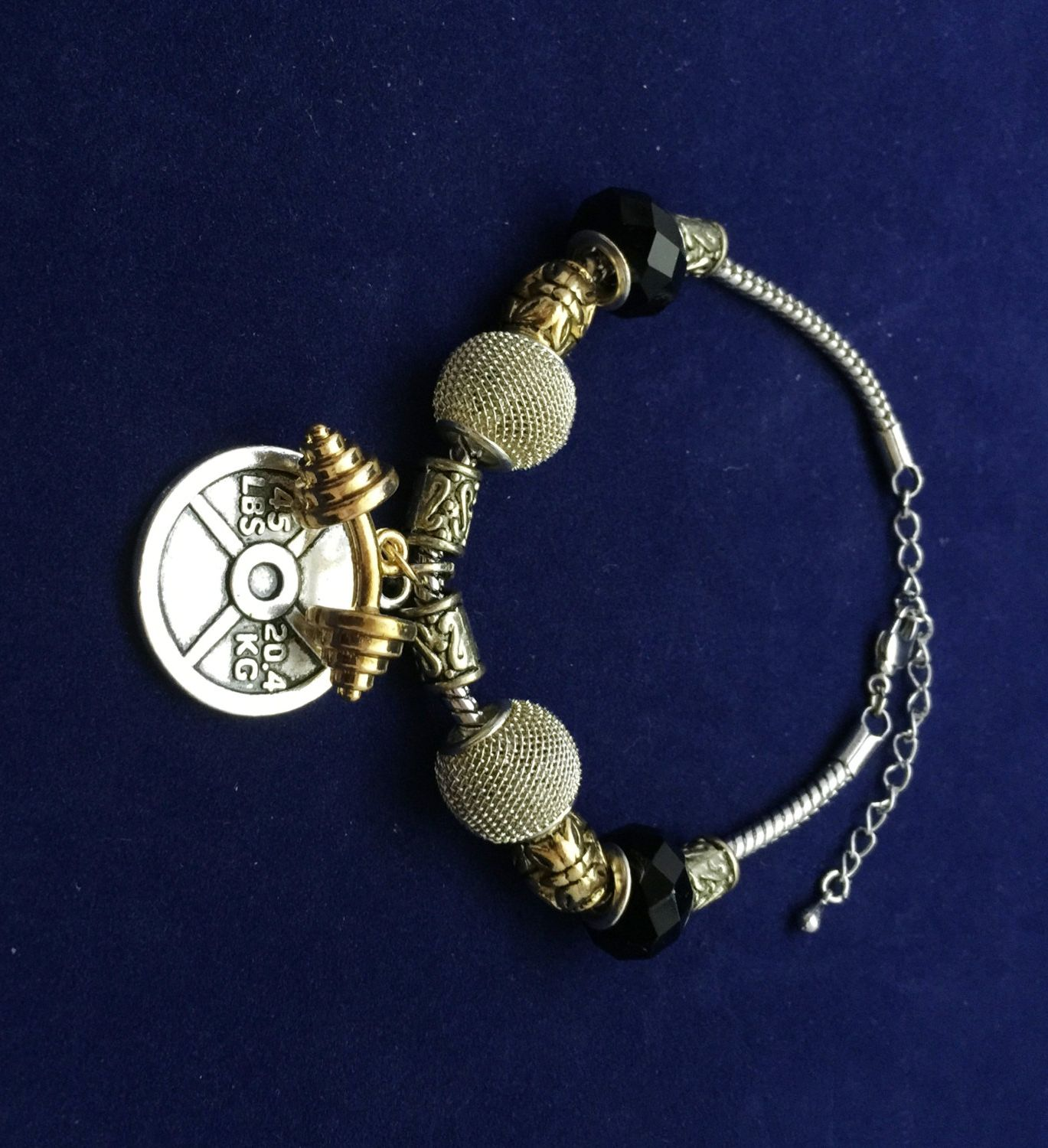 Pandora Style Bracelet With Barbell And 45lb Weight Plate Charm By  Maideniron On Etsy