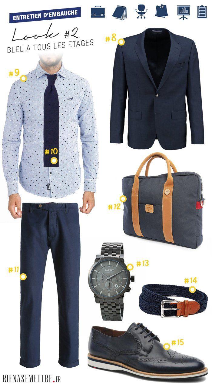 fc2a5343ea06e Look homme entretien d embauche - Tenue business avec blazer bleu, cravate  moderne et montre