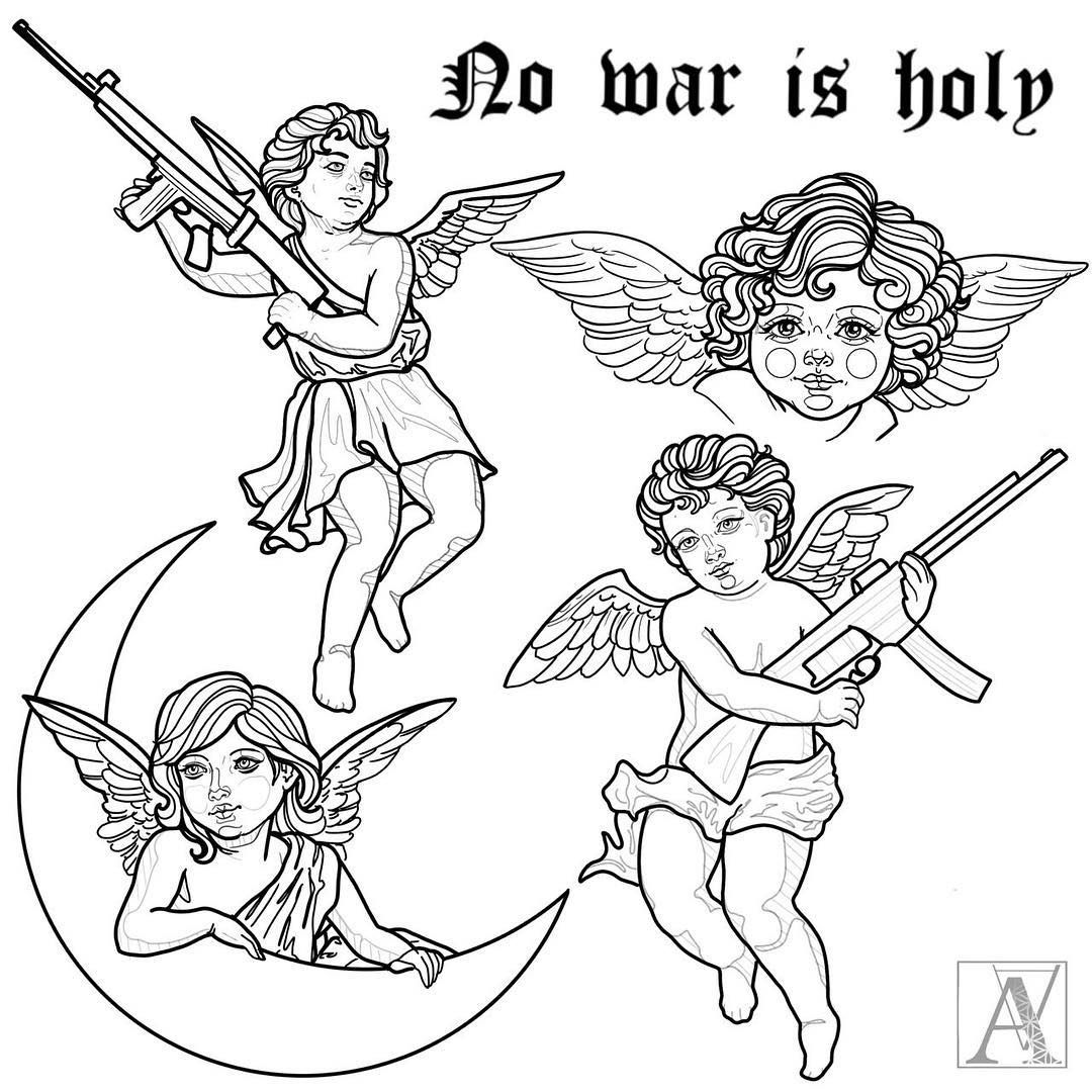 """Alicja Andersen on Instagram: """"""""No war is holy"""" - all designs available. I have some free time left @outlawz.tattoo in #bern this week. DM me 🖤! . . #tattoo #tattoodesign…"""""""