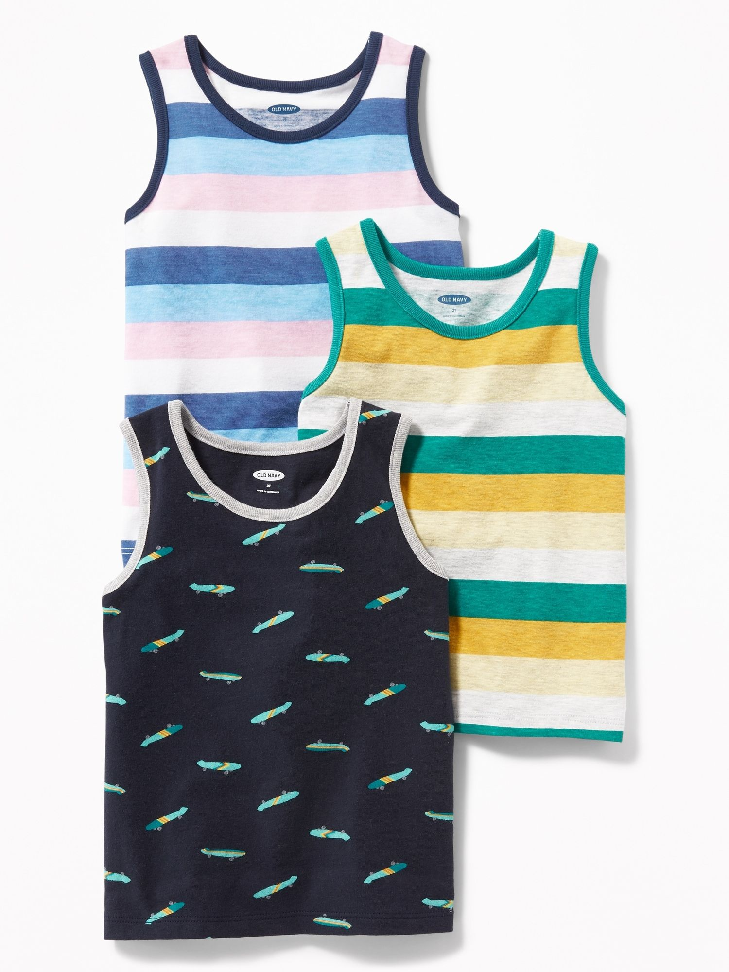 0ae9197df400 Patterned Tank 3-Pack for Toddler Boys