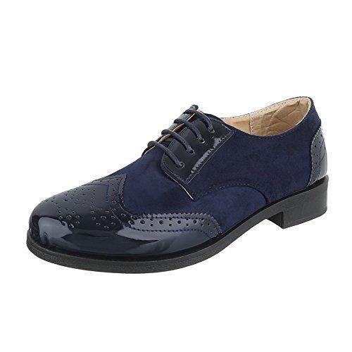 Ital-Design - Zapatos Planos con Cordones Hombre, Color Azul, Talla 42