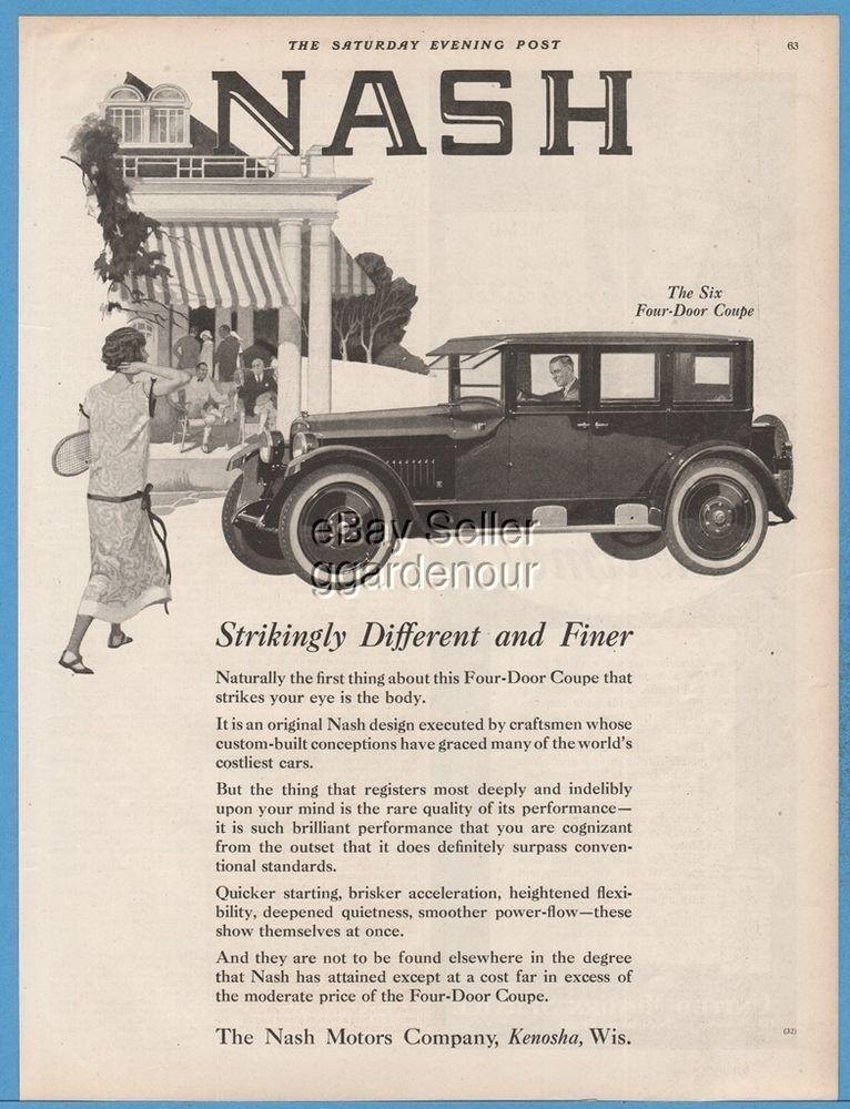 1924 Nash Motors Company Kenosha WI Wisconsin Six Four Door Coupe ...