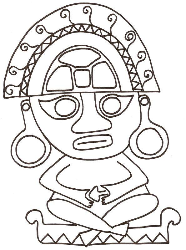Coloriage d 39 un motif mexicain antique la statuette camp mexico around the world theme et - Dessin du mexique ...