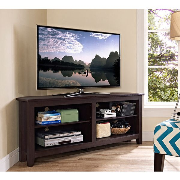 58 espresso wood corner tv stand overstock shopping great 58 espresso wood corner tv stand overstock shopping great deals on entertainment centers sciox Images