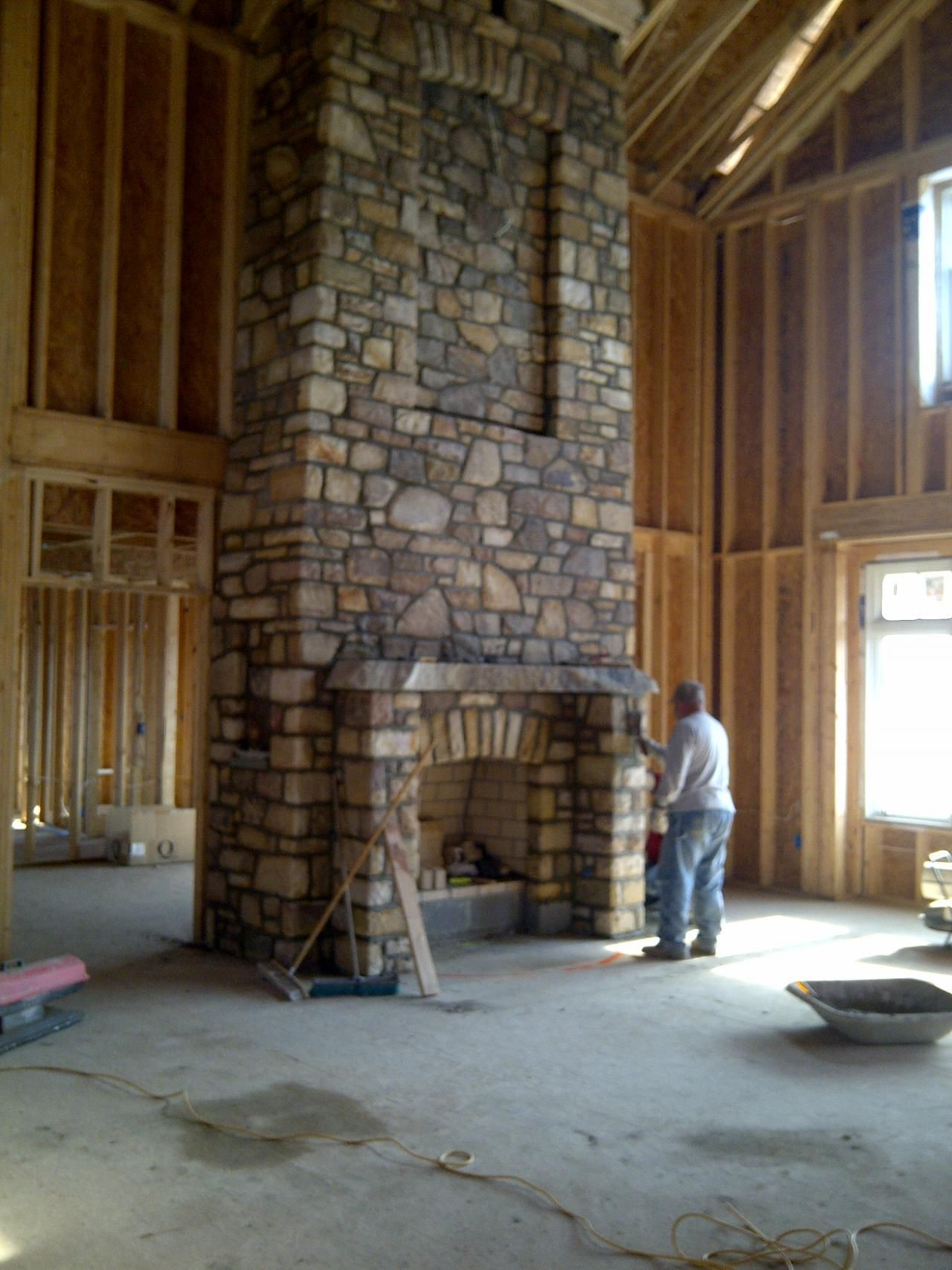 fireplace with stone and bookcases | ... Stone Fireplace In Modern ...