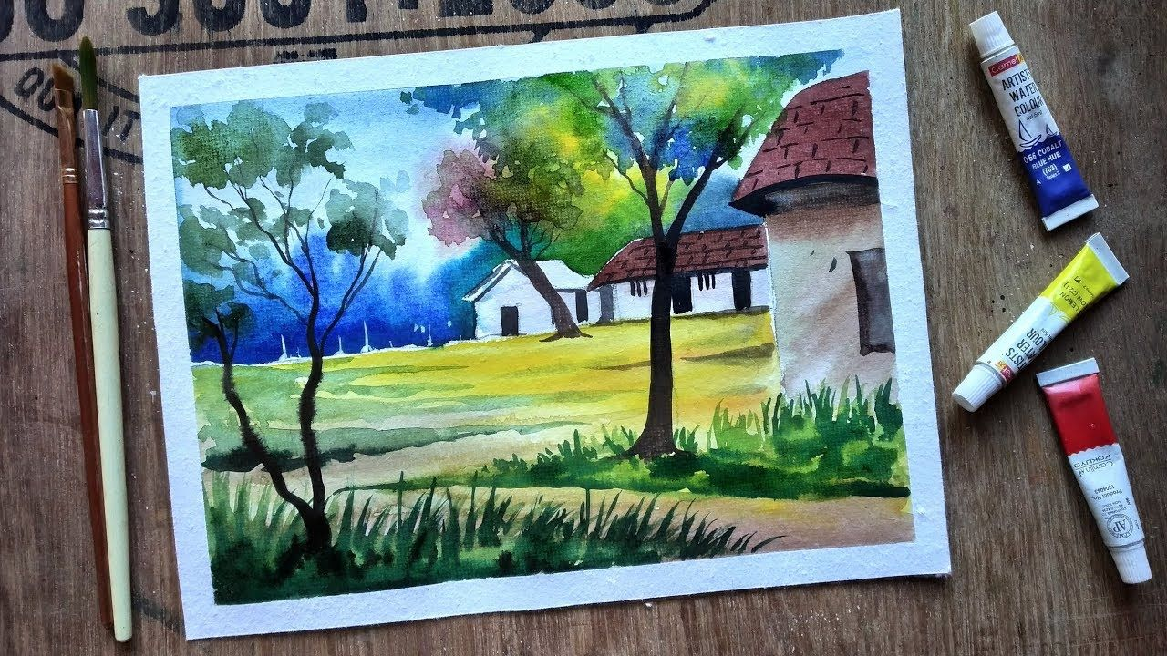 Watercolor Painting For Beginners Village House Landscape Tutorial Youtube Painting Watercolor Paintings Landscape Paintings
