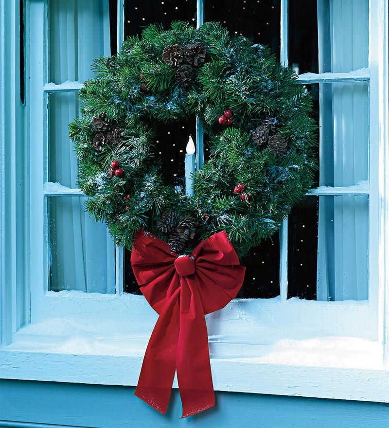 Faux Fir Indoor/Outdoor Wreath With Battery-Operated Timer ...
