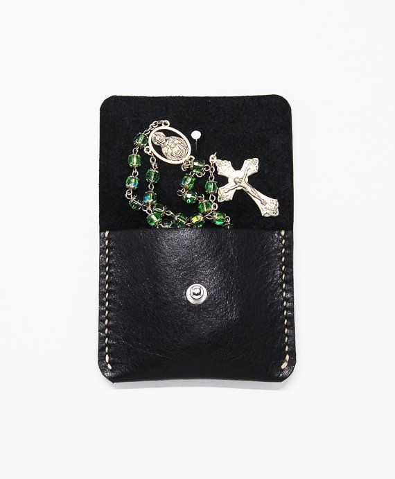 Hand Stitched Small Black Leather Coin Rosary Jewelry Purse