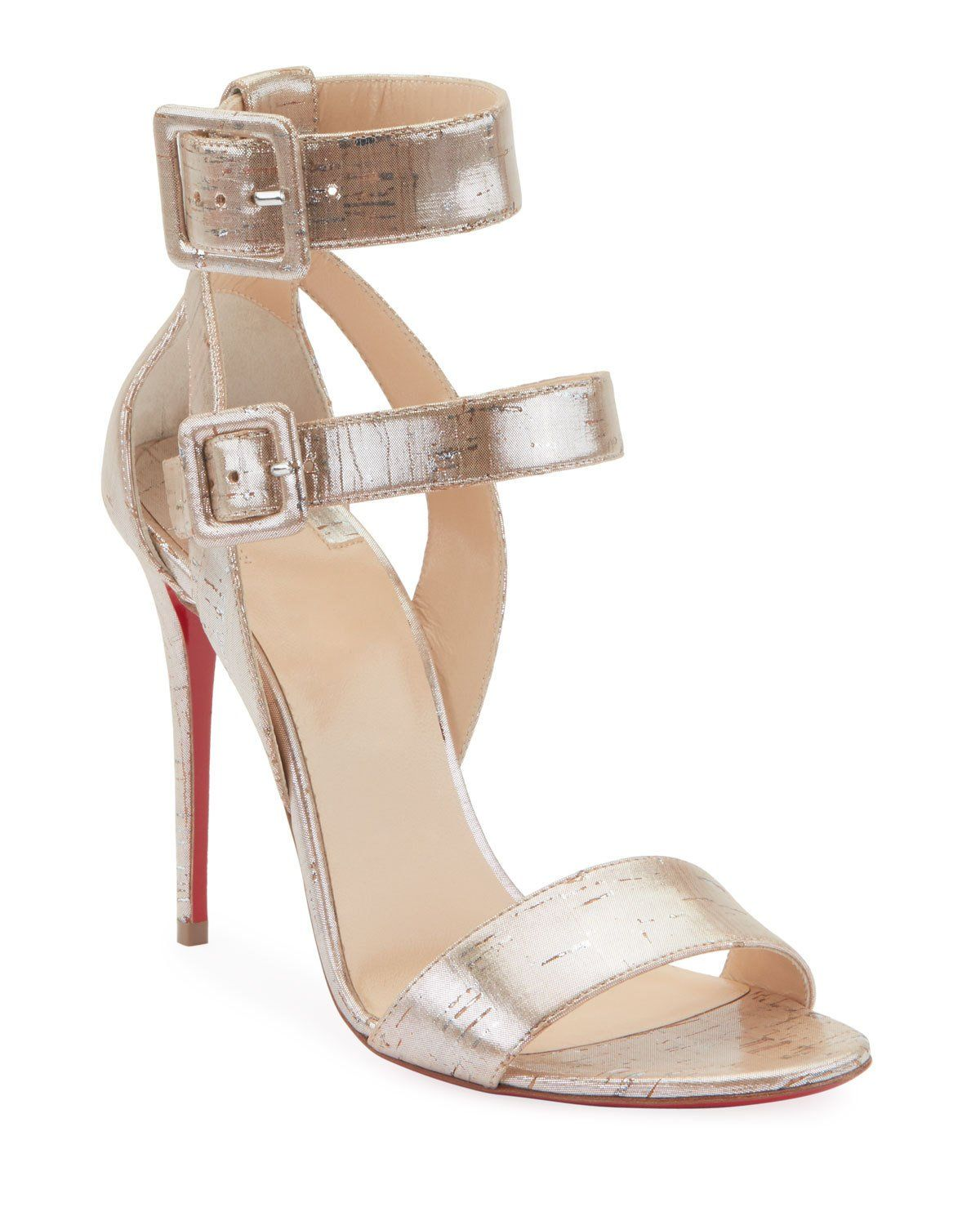 35295aec4ab Christian Louboutin Multipot 100 Cork Red Sole Sandals in 2019 ...
