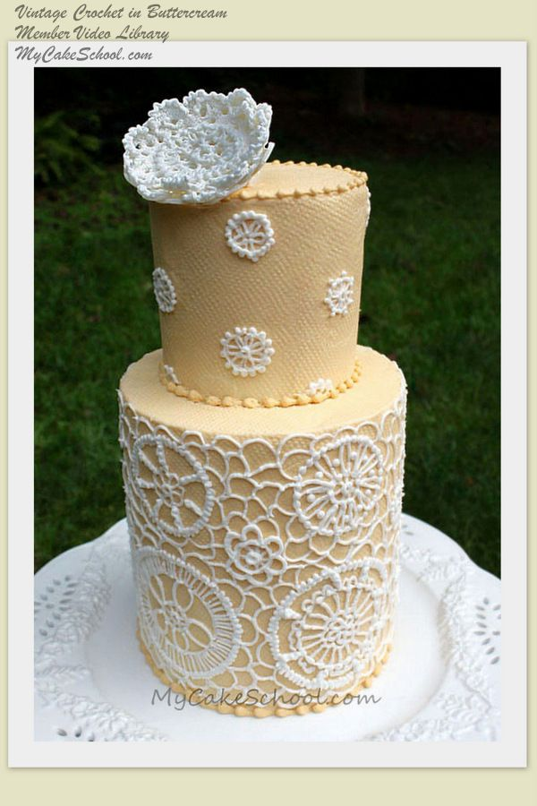 Learn to make this beatiful buttercream cake with a crocheted effect, and an embellished fondant topper. One of hundreds of tutorials in MyCakeSchool.com's member-video library! ;0)