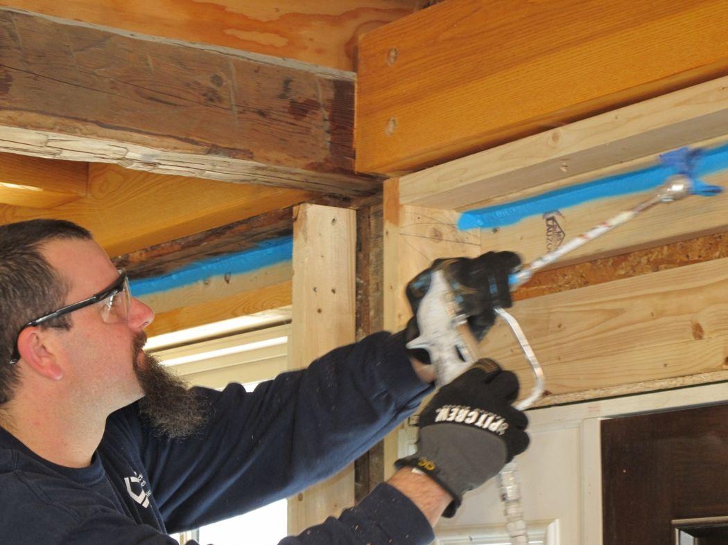 Knauf EcoSeal is a sprayable caulk that reduces air leakage