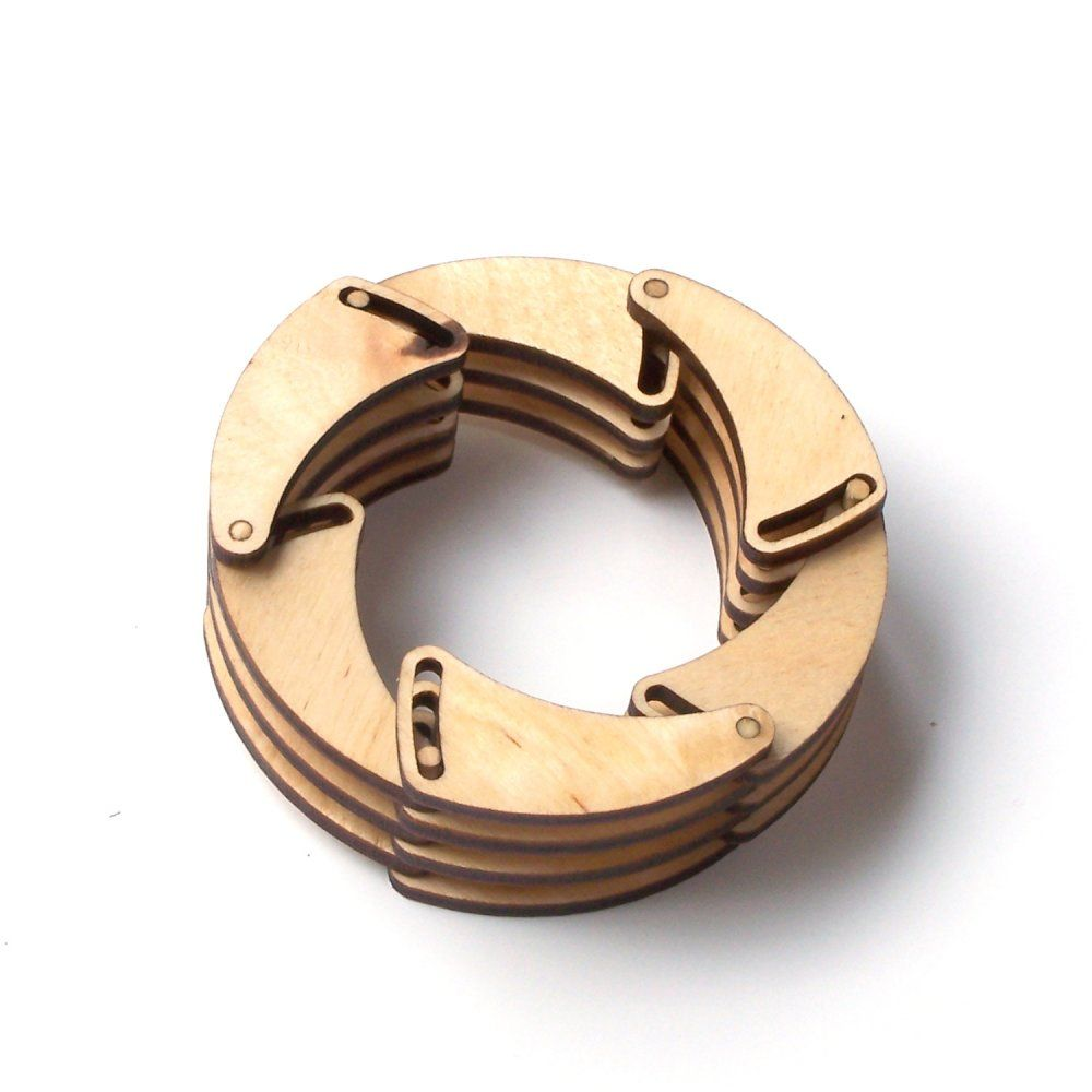 Shutter - unique laser cut wooden bracelet, natural style, eco friendly jewelry