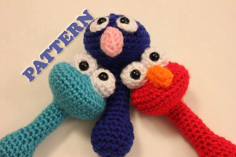 Amigurumi Rattle Free Pattern : Pattern grover sesame street baby rattle crochet via etsy