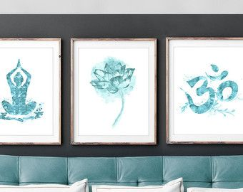 Spiritual Wall Art set of 3 indian spiritual wall art. zen art. om, meditation, yoga