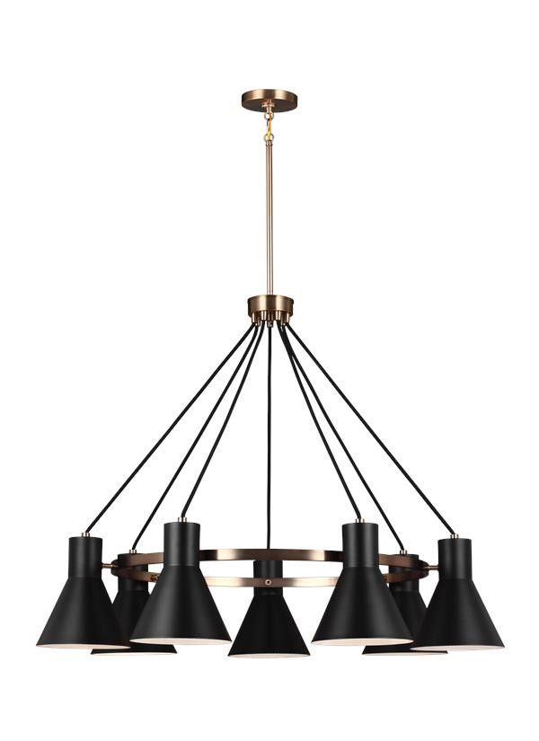 Mid Century Retro 7 Light Chandelier Satin Bronze