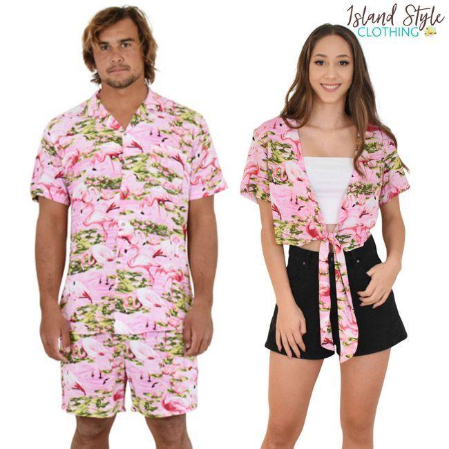 f4e6a8e3afa13f Pink Flamingo Matching Couples Set. Mens Hawaiian shirt & Shorts and ladies  Wrap Top. #couplesgoals #hawaiianset #musicfestival #partyshirts  #festivalshirts ...