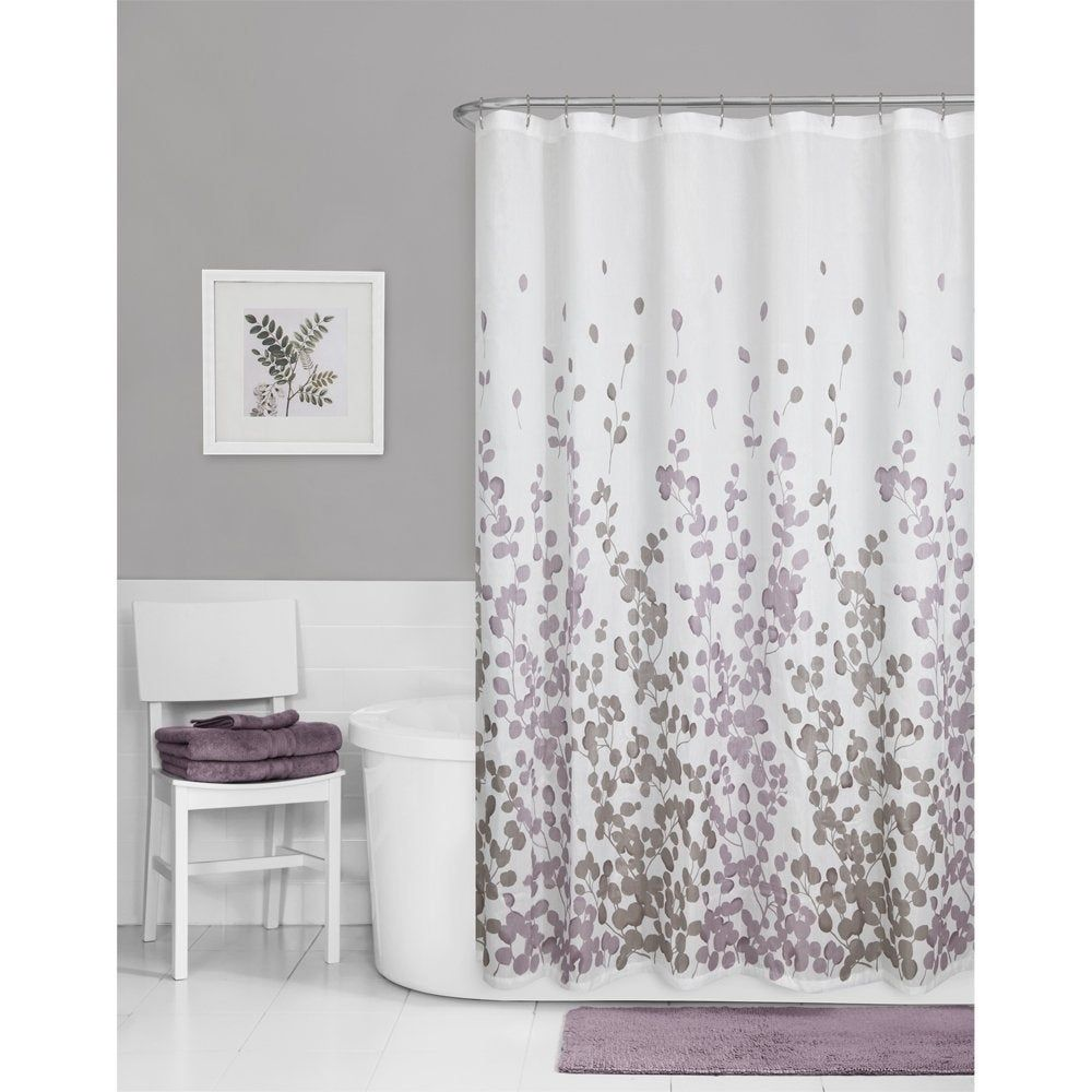 Printed Faux Silk Fabric Shower Curtain Purple In 2020 Gray
