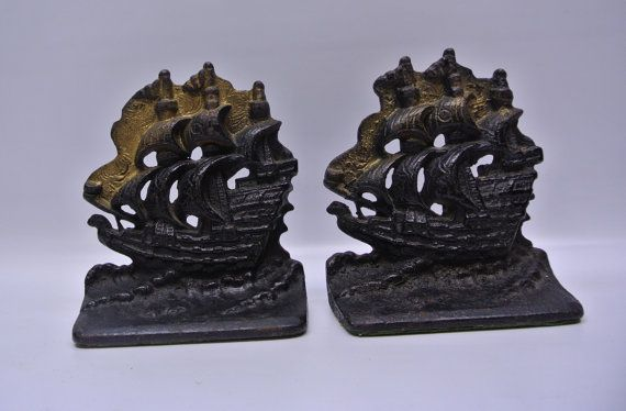 Ships ahoy -- cast iron nautical bookends